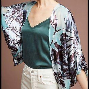 Anthropologie Floral Burnout Kimono Top